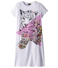 Roberto Cavalli Short Sleeve Leopard Graphic T Shirt Dress Big Kids White Women's Dress