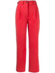 Mara Hoffman Cropped Chino Trousers Red