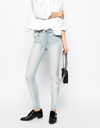 Dr. Denim Dr Denim Lexy 4 Pocket High Waist Skinny Jeans With Bleach Effect Blue