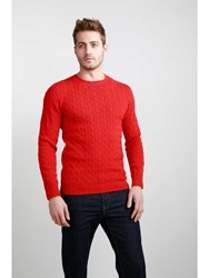 Johnstons Of Elgin Cashmere Cable Sweater Red