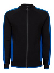 Topman Black And Cobalt Blue Stripe Knitted Track Top