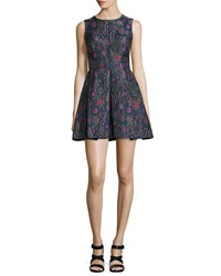 Cynthia Rowley Sleeveless Embroidered Party Dress Charcoal Grey