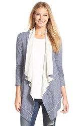 Women's Caslon Double Face Drape Front Cardigan Navy Ivory Colorblock