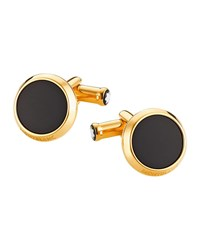 Montblanc Round Cufflinks W Onyx Inlay Gold
