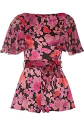 Agent Provocateur June Printed Silk Chiffon Trimmed Stretch Silk Playsuit Pink