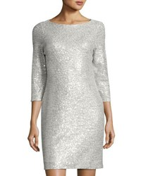 Donna Ricco Allover Sequin Sheath Dress Silver