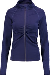 Yummie Tummie Vera Croc Effect Trimmed Stretch Jersey Jacket Blue