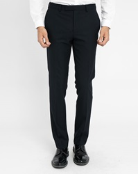 Sandro Navy Satin Revers Tuxedo Trousers