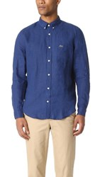 Lacoste Button Down Linen Shirt Inkwell Blue