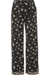 Etro Cropped Floral Print Crepe Wide Leg Pants Black