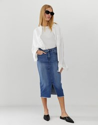 B.Young Longline Denim Skirt Blue