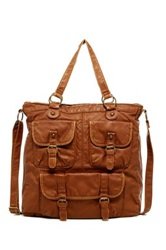 T Shirt And Jeans Multi Pocket Tote Brown