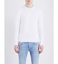 Sandro Waffle Knit Pure Cotton Sweatshirt White
