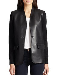 Bailey 44 Gestalt Faux Leather Front Blazer Black