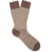 Pantherella Fabian Herringbone Cotton Blend Socks Brown