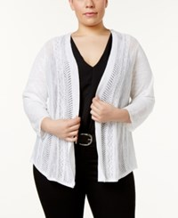 Charter Club Plus Size Pointelle Knit Cardigan Only At Macy's Bright White