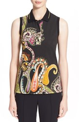Women's Etro Fern Paisley Print Polo Top