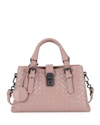 Bottega Veneta Roma Small Woven Leather Satchel Bag Medium Pink