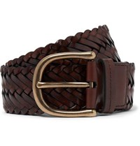 Tom Ford 4Cm Brown Woven Leather Belt Tan