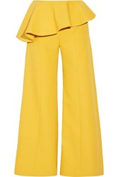 Rosie Assoulin Bearded Iris Peplum Cotton Twill Wide Leg Pants Marigold