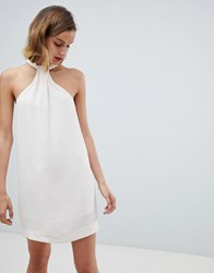 Mango Halter Neck Shift Dress In Cream