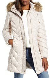 Marc New York Matte Satin Chevron Faux Fur Trim Coat Ivory