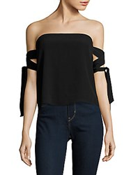 Lucca Couture Off The Shoulder Tie Up Sleeves Top White