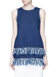 Nicholas Frayed Fringe Cotton Denim Tunic Blue
