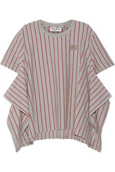 Opening Ceremony Striped Stretch Cotton Jersey T Shirt Gray
