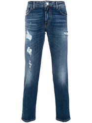 Entre Amis Distressed Cropped Jeans Blue