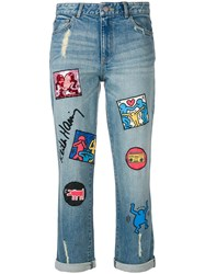 Alice Olivia X Keith Haring Patch Jeans Blue