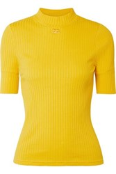 Courreges Ribbed Stretch Cotton Top Yellow