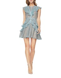 Bcbgmaxazria Kimbriella Ruffled Lace Fit And Flare Cocktail Dress Aqua Mist