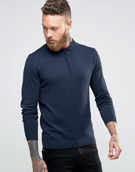 Jack And Jones Premium Long Sleeve Polo Shirt Navy Blazer