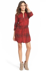 Element 'Jessey' Plaid Shirtdress Maroon