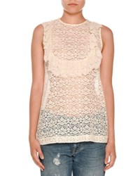 Stella Mccartney Sleeveless Lace Ruffle Bib Top Ivory