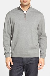 Tommy Bahama Men's Flip Side Reversible Quarter Zip Twill Pullover Carbon Grey Heather