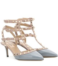 Valentino Rockstud Patent Leather Kitten Heel Pumps Grey