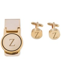 Bey Berk Men's Gold Tone Monogrammed Cuff Links And Money Clip Set X