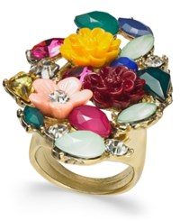 Inc International Concepts I.N.C. Gold Tone Stone And Flower Motif Statement Ring Created For Macy's Gold Multi