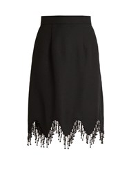 House Of Holland Beaded Tassel Trim Crepe Skirt Black
