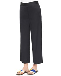 The Row Straight Leg Cropped Pants Navy