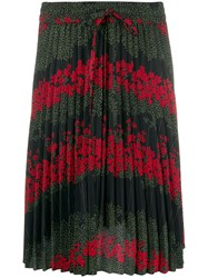 Red Valentino Floral Print Pleated Skirt Black