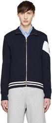 Moncler Gamme Bleu Navy And White Zip Up Sweater