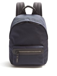 Lanvin Leather Trimmed Canvas Backpack Navy