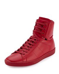 Saint Laurent Leather High Top Sneaker Red
