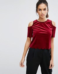 Daisy Street Cold Shoulder Velvet Scallop Top Wine Red