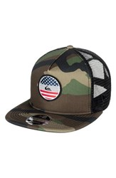 Quiksilver Flag Trucker Hat Green Camo