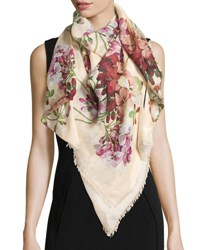 Gucci New Blooms Square Shawl White Pink