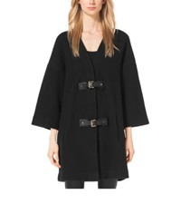Michael Kors Buckled Merino Wool Sweater Coat Plus Size Black Gold